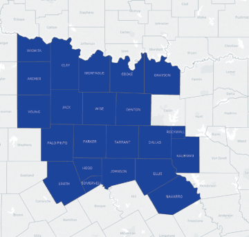 North Texas 22 County Coop Counties Map